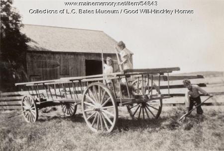 Good Will children haying, Fairfield, ca. 1930