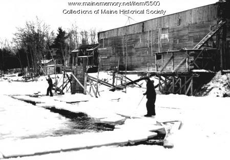 Ice harvesting, Kennebec River, ca. 1900