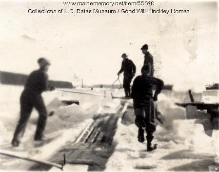 Good Will Boys cutting ice, Fairfield, ca. 1920