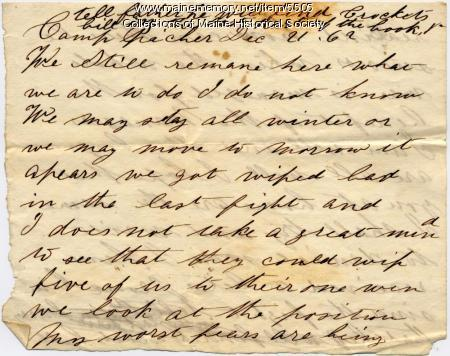 Meshach P. Larry letter, Dec. 21, 1862