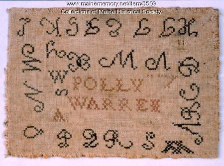 Polly Warren sampler, Gorham, ca. 1800