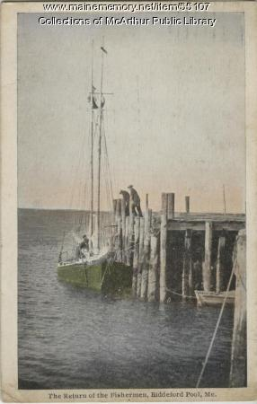 Fishing boat and fishermen postcard, Biddeford Pool, 1928