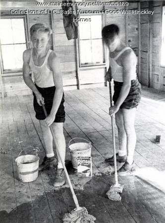 Good Will boys mopping, Fairfield, ca. 1955