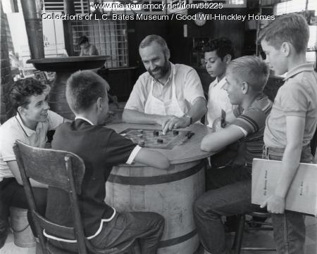 Playing checkers, Fairfield, ca. 1960