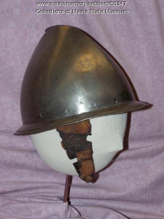 Cabasset cheek piece from Popham Colony, Phippsburg, ca. 1607-1608