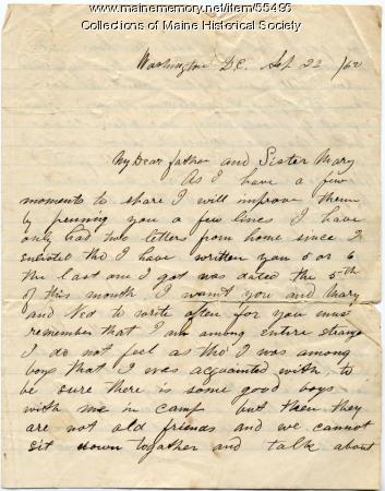 Pvt. John Sheahan on importance of letters, Washington, D.C., 1862
