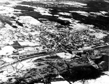 Aerial view of Lisbon Falls, 1935