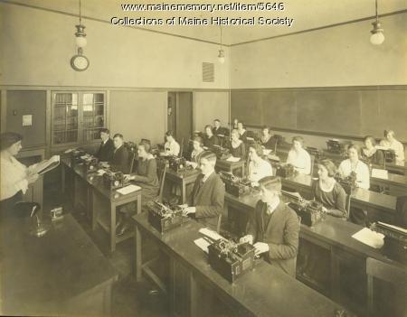 Typing class, Portland High School, 1920s