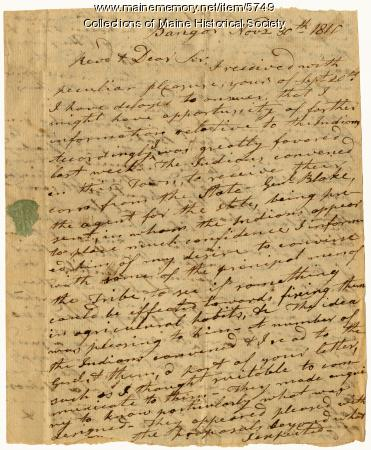 John Sawyer letter to Rev. William Jenks, 1810