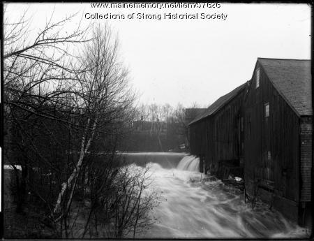 Spring freshet over Mill Stream dam, Strong, ca. 1910