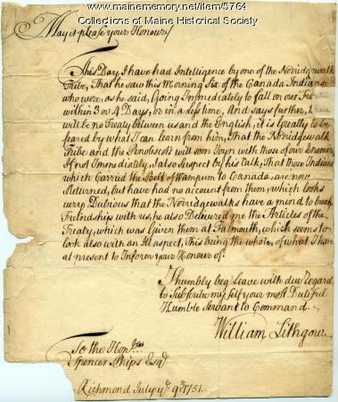 Letter from William Lithgow to Spencer Phips