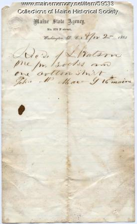 Receipt for socks, shirt, Washington, 1863