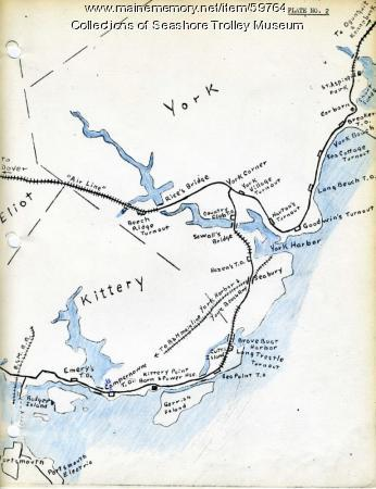 Kittery to York Beach electric railroad lines,  ca. 1923