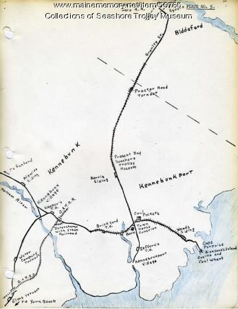 Kennebunk Village to Cape Porpoise electric railroads, ca. 1927