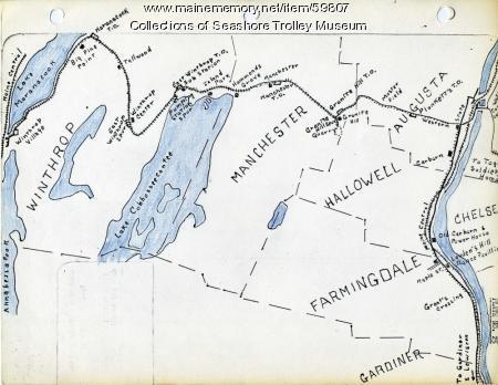 Gardiner to Augusta to Winthrop electric railroads, ca. 1932