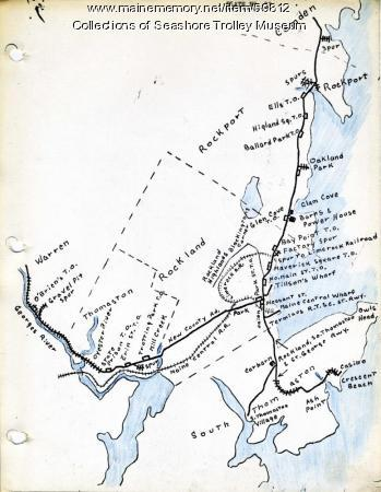 Rockland, Thomaston & Camden electric railroad lines, ca. 1931