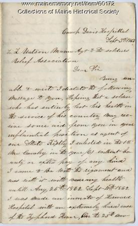 Letter on behalf of ill soldier, Virginia, 1863