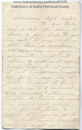 Soldier's letter on clothing payment, Bowdoinham, 1863