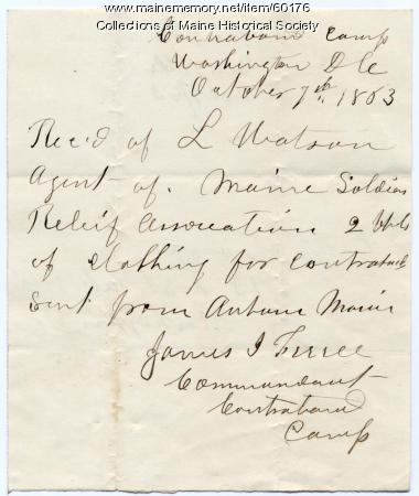 Receipt for Contraband Camp donation, Washington, 1863