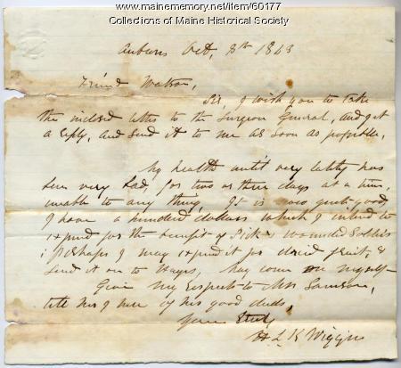 H.L.K. Wiggin letter about donation, 1863