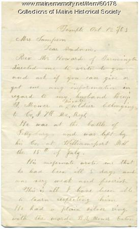Letter seeking information on husband, Temple, 1863