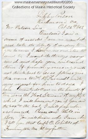 POW letter requesting food, Richmond, Va., 1863