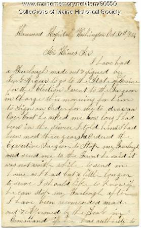 Cyrus McBride letter on election, Washington, D.C., 1863