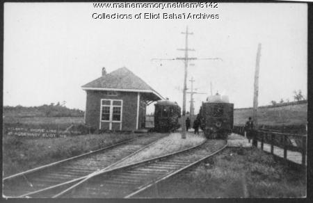 Atlantic Shoreline Junction at Rosemary, Eliot train depot, ca. 1900