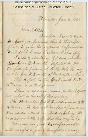 Request for information about missing soldier, Princeton, 1864