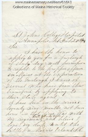 Prisoner request for Parole, Annapolis, Md., 1864