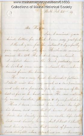 Widow's request for assistance, Bath, 1863