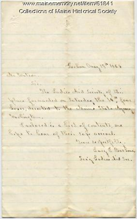 Gorham Ladies Aid donation letter, 1864