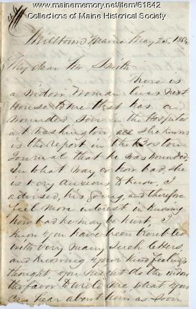 Request for information about injured soldier, 1864
