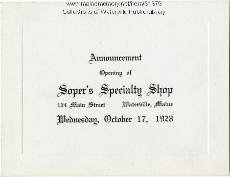 Opening announcement for Soper's Specialty Shop, Waterville, 1928