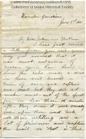 John Sheahan on skirmish with Rebels, Virginia, 1863