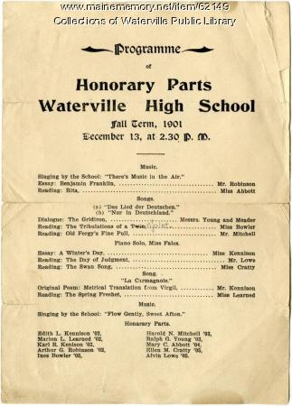 Waterville High School fall term honors, Waterville, 1901