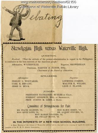 Debate between Waterville and Skowhegan high schools, March 29, 1900