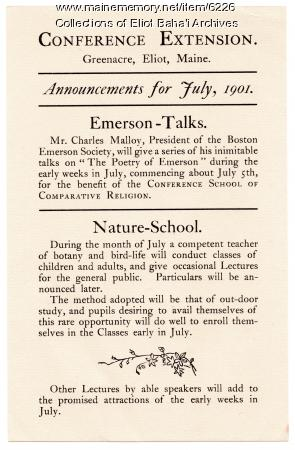 Conference program, Green Acre, Eliot, 1901