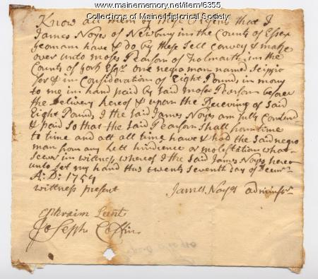 Bill of sale for slave Scippio, 1759