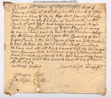 Bill of sale for slave Scippio, 1759