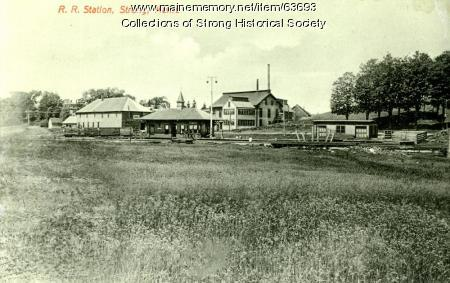 Railroad terminal area viewed from south, Strong, ca. 1908