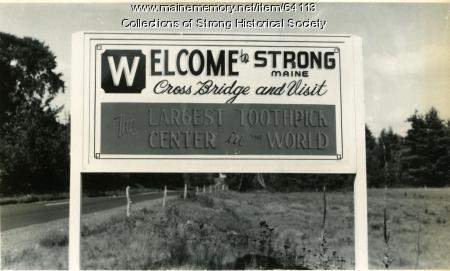 Welcome to Strong sign, Strong, ca. 1950