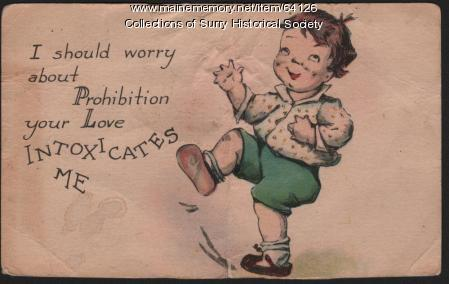 Prohibition Postcard, Surry, 1927