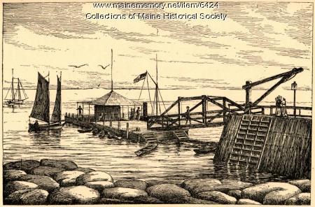 Steamer landing at Appledore Island, Isles of Shoals, 1891