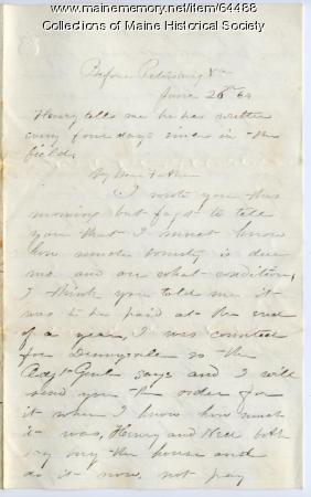 Lt. John Sheahan advice to father on buying house, 1864