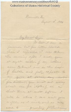 Lt. John Sheahan to Lizzie Shriver, 1864