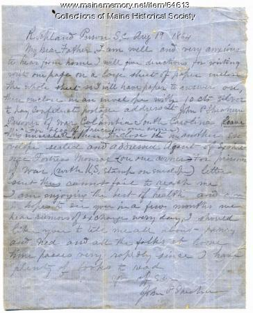 Lt. John P. Sheahan on writing to him in prison, South Carolina, 1864