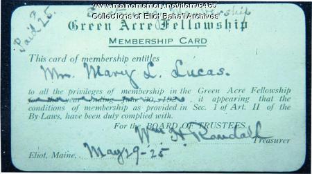 Green Acre Fellowship membership card