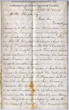 Request for information on reinterring soldier, 1864