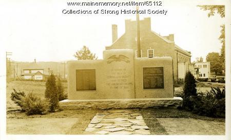 Veterans Memorial, Strong, ca. 1932